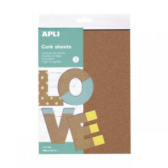 Kurk 2 mm dik 3-vellen , 21 x 30 x 0,2 cm groot uit kurk in de kleur bruin. Geschikt vanaf 3+.