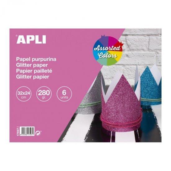 Glitterpapier of glitterkarton 6-delig , 32 x 24 cm groot in 6 kleuren. Geschikt vanaf 3+.