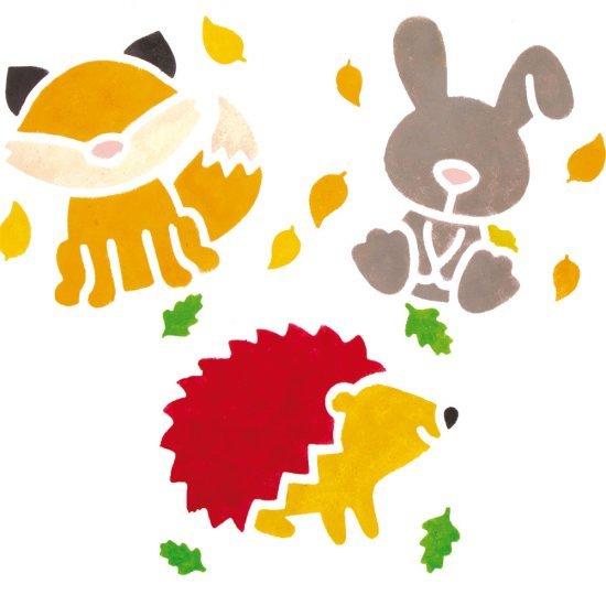 Sjabloonset Bosdieren , 14 x 15 cm groot uit kunststof in 2 kleuren. Geschikt vanaf 3+.