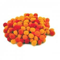 Pompons Oranjetinten 10 mm - 120 Stuks