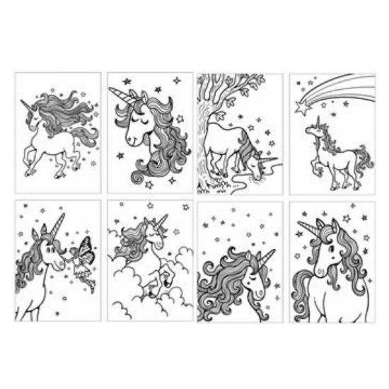 Kleurset Eenhoorn, 21 x 32 cm groot uit papier met inkleurplaten. Geschikt vanaf 3+.
