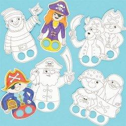 Vingerpopjes Piraten om in te Kleuren - Set van 24 stuks
