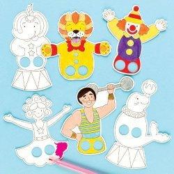 Vingerpopjes Circus om in te Kleuren - Set van 24 stuks