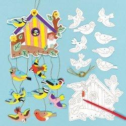 Inkleur Mobiel Vogels - Set van 4 stuks