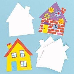Blanco Huis Inkleur Kaarten - Set van 10 stuks
