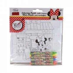 Puzzel Minnie om te Kleuren 17x17 cm. + 6 Vetkrijtjes