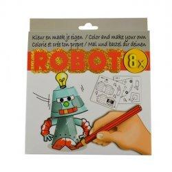 Kleur en Maak je eigen ROBOT figuurtjes 8-dlg.