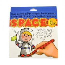 Kleur en Maak je eigen SPACE figuurtjes 8-dlg.