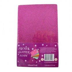Foam - Schuimrubber Glitter Zelfklevend 5-Vel 139x215mm