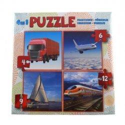 Puzzel 4in1 Voertuigen